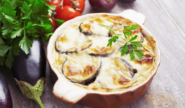 Говядина, запечённая с сыром и овощами