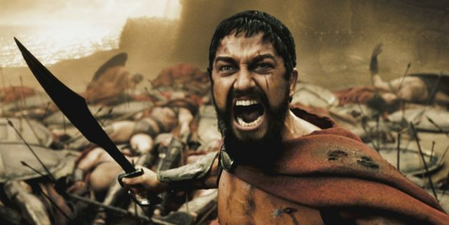 Кадр из фильма про Древнюю Грецию «300спартанцев»