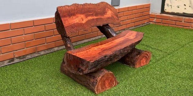 Как сделать скамейку из бревна своими руками