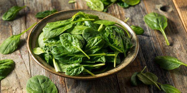 Продукты, содержащие антиоксиданты: шпинат