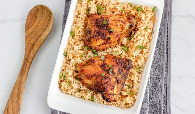 Куриные бёдра с рисом в духовке