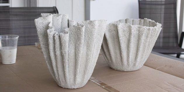 Как сделать вазон из бетона и полотенец своими руками