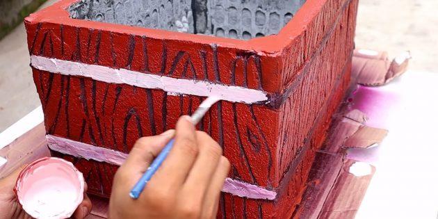 Как сделать вазон из бетона и пластикового ящика своими руками: покрасьте изделие
