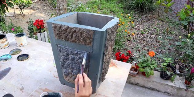 Покрасьте вазон из бетона своими руками
