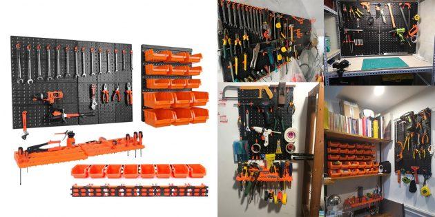 Товары для наведения порядка в гараже: Настенная подвесная система хранения