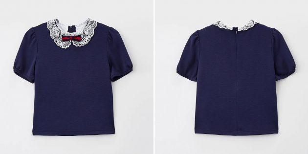 Школьная блузка с кружевным воротником