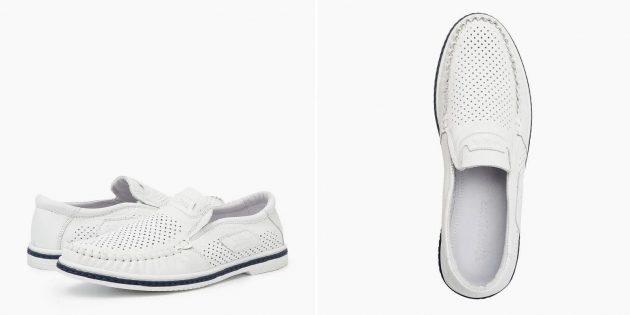Летняя обувь: мужские мокасины с перфорацией