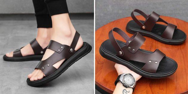 Мужские сандалии с заклёпками