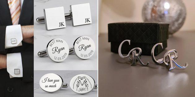 Что подарить мужу на годовщину свадьбы: запонки с рисунком или надписью