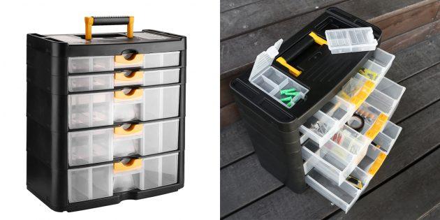 Товары для наведения порядка в гараже: Ящик-органайзер для инструментов