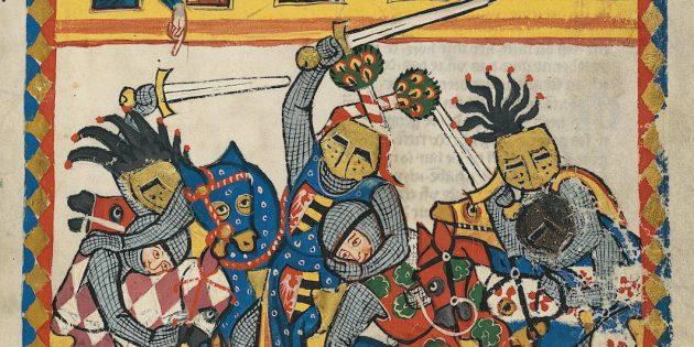 Герцог фон Анхальт на турнире, Codex Manesse, XIV век