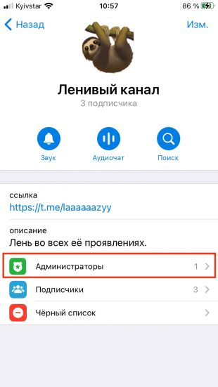 Как назначить администраторов канала в Telegram: перейдите в пункт «Администраторы»