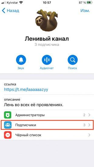 Как добавить и удалить подписчиков в канале Telegram: перейдите в пункт «Подписчики»