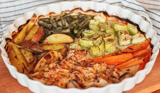 Запечённая индейка с овощами
