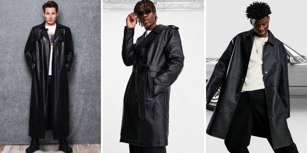 Мужская мода — 2021: длинный плащ из экокожи