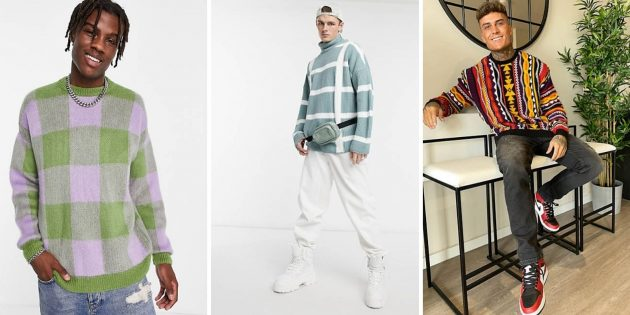 Мужская мода осени-2021: объёмный свитер или толстовка с ярким геометрическим принтом