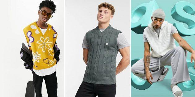 Мужская мода осени-2021: трикотажный свитер-жилетка