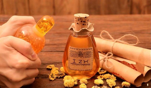 Замороженный мёд в бутылке
