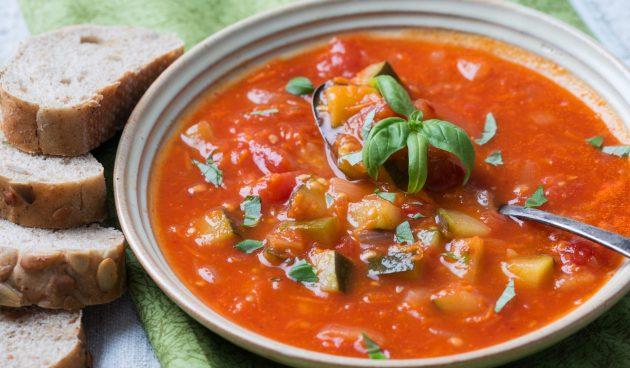 Суп «Рататуй» с кабачками, баклажанами и перцем