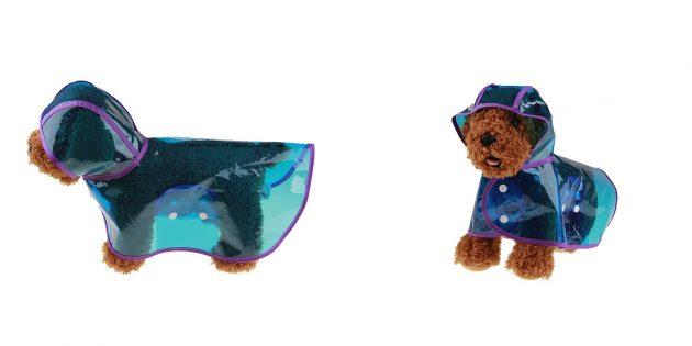 Прозрачный дождевик для собак