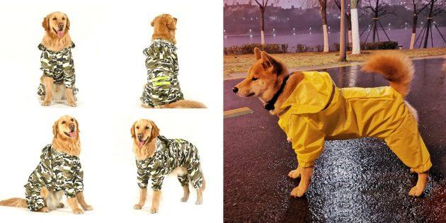 Дождевик для собак карманом на спинке