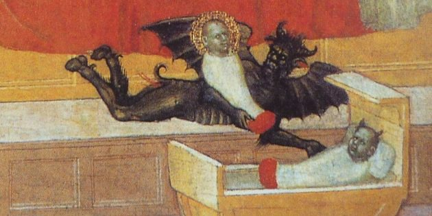 Дьявол аккуратно меняет ребёнка на подкидыша. Фрагмент картины «Легенды о святом Стефане» Мартино ди Бартоломео, начало XV века