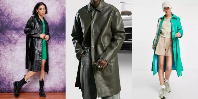 Модные пальто осени-2021: пальто из цветной экокожи