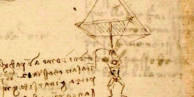 Изобретения Леонардо да Винчи: парашют, который также может служить палаткой