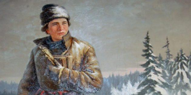 Михаил Ломоносов на пути в Москву. Картина Николая Кислякова, 1951год