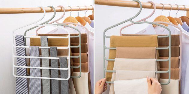 Органайзеры-вешалки для одежды с дополнительными перекладинами