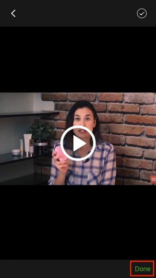 Как убрать водяной знак с видео в iOS: нажмите Done