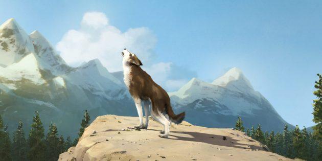 Кадр из мультфильма про волков «Белый клык»