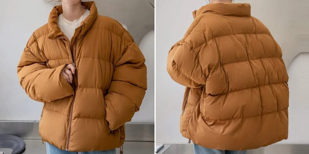 Женская стёганая утеплённая куртка в стиле оверсайз