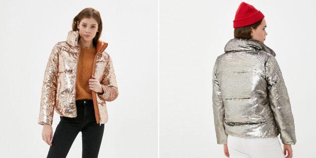 Женская утеплённая куртка с пайетками