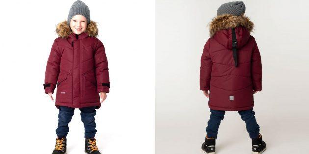 Детская утеплённая куртка с ремешком на капюшоне