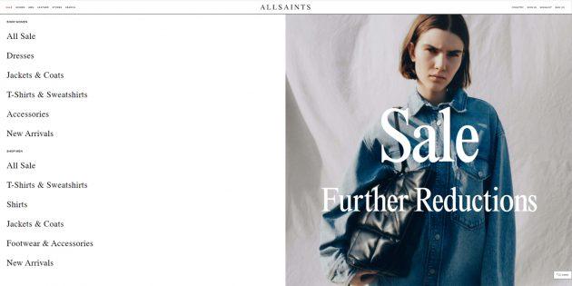 Интернет-магазины с международной доставкой: Allsaints