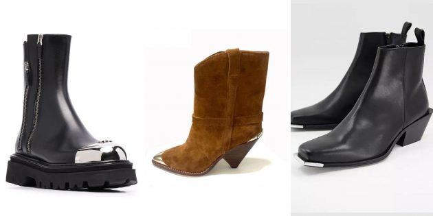 Модная женская обувь 2021года: обувь с контрастным металлизированным носком