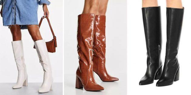 Модная женская обувь 2021года: высокие сапоги до колена