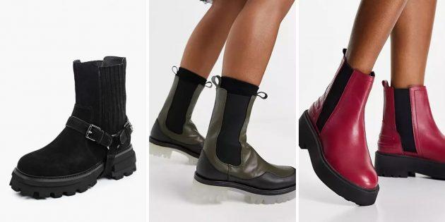 Модная женская обувь 2021года: ботинки-челси на массивной платформе