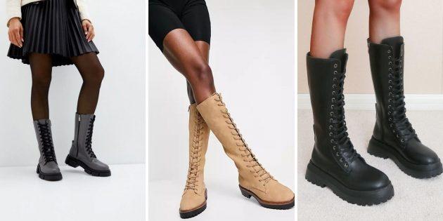 Модная женская обувь 2021года: высокие ботинки на шнуровке