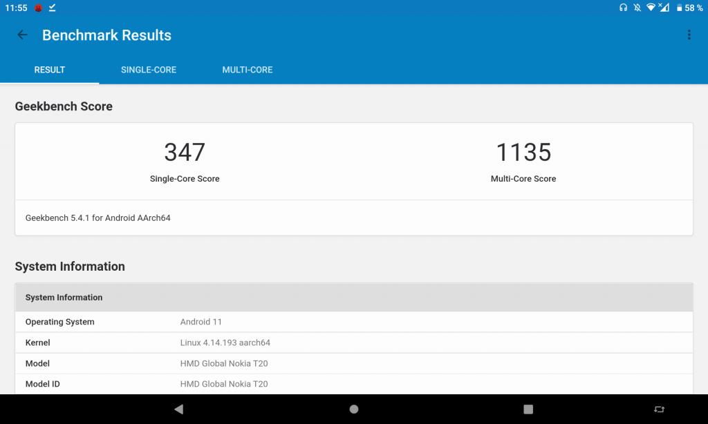 Geekbench для Nokia T20