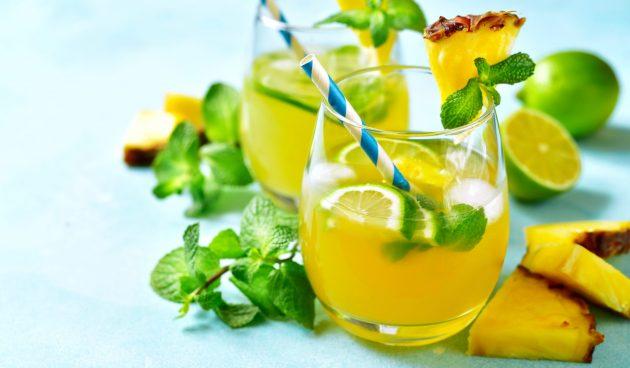 Безалкогольный ананасовый мохито
